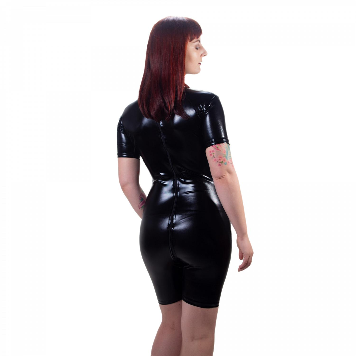 Wetlook Glanz Body kurze Ärmel + Zipper 1