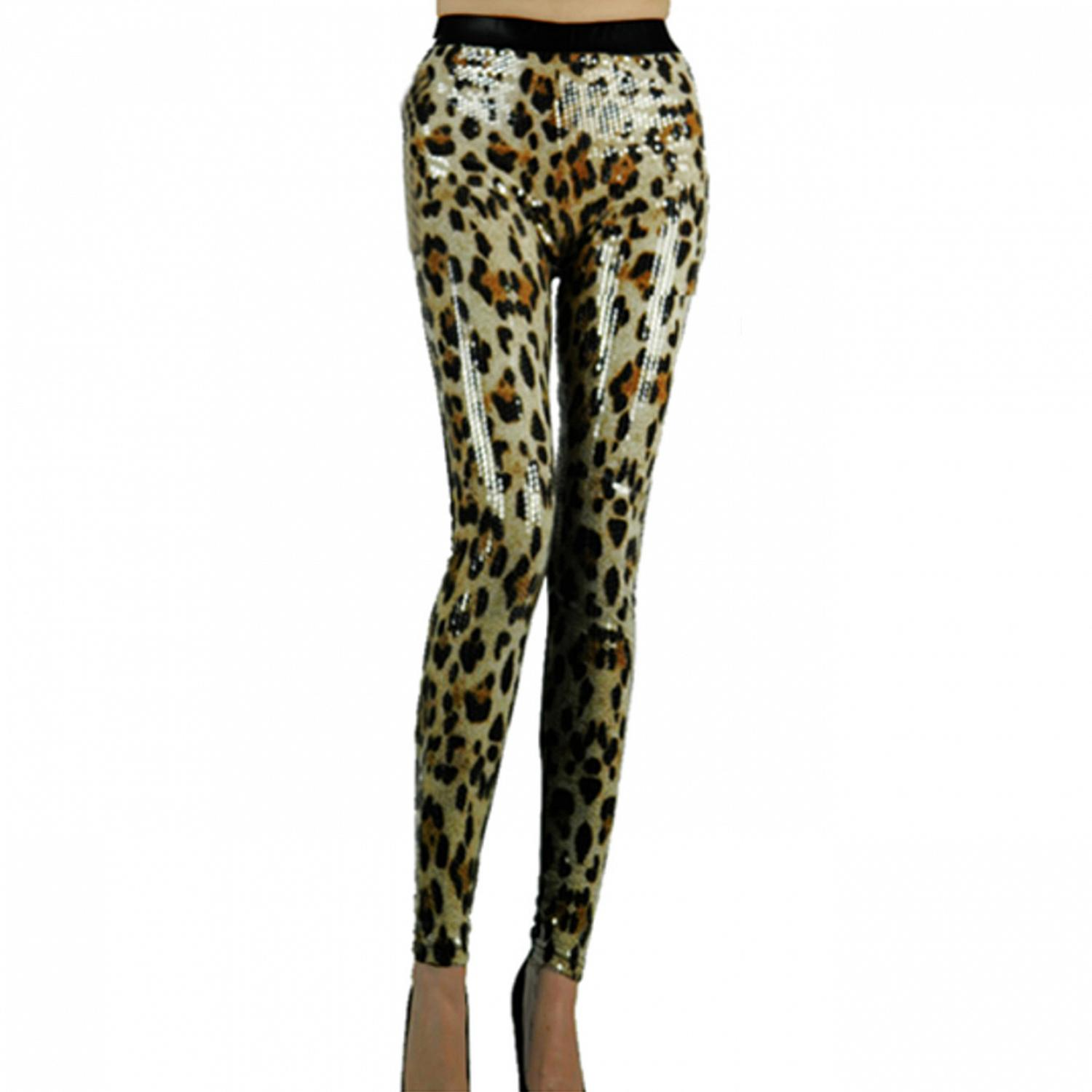 Wetlook Glanz Strech leopard Leggings mit Pailletten 1