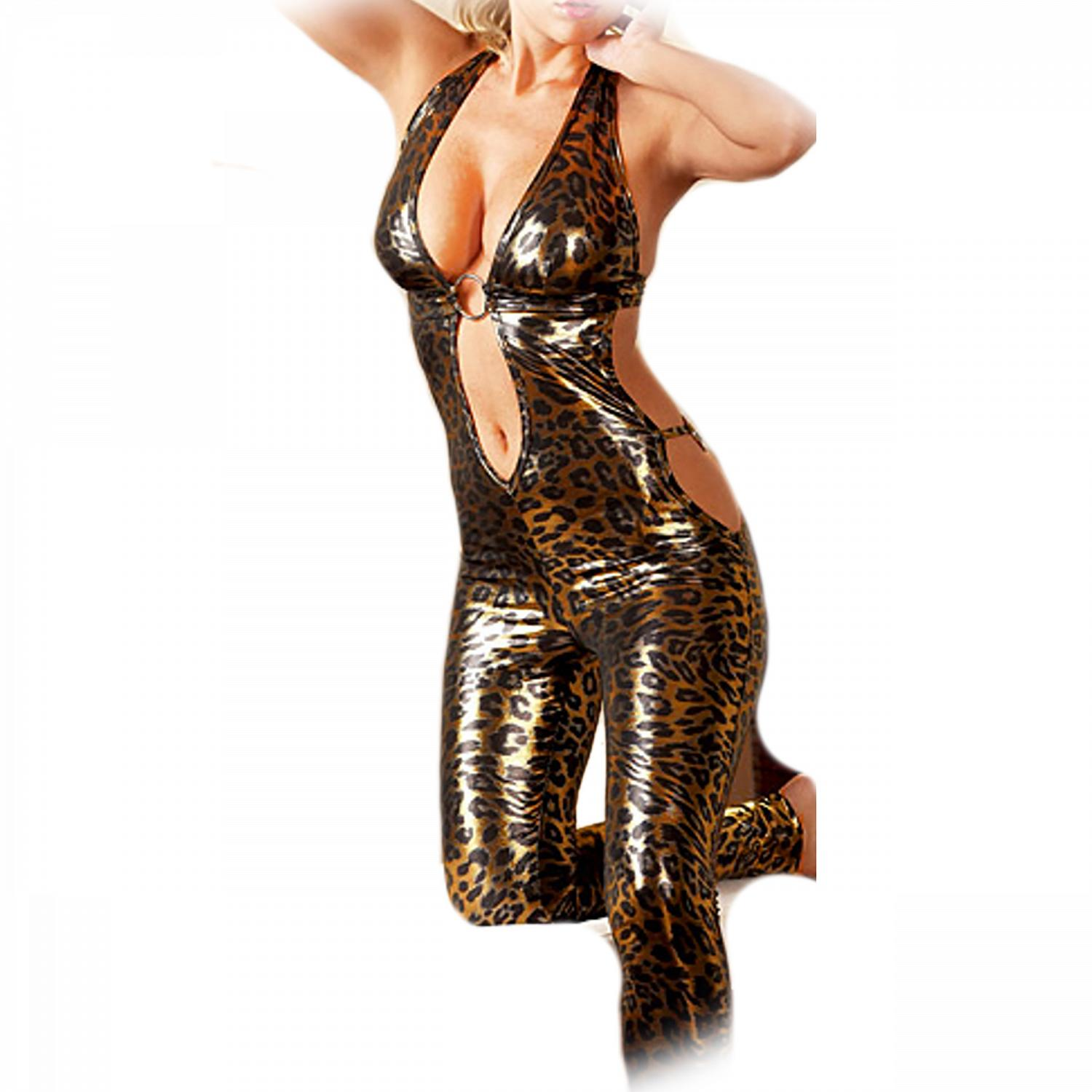 Sexy leopard catsuit metallic luster Backless 1