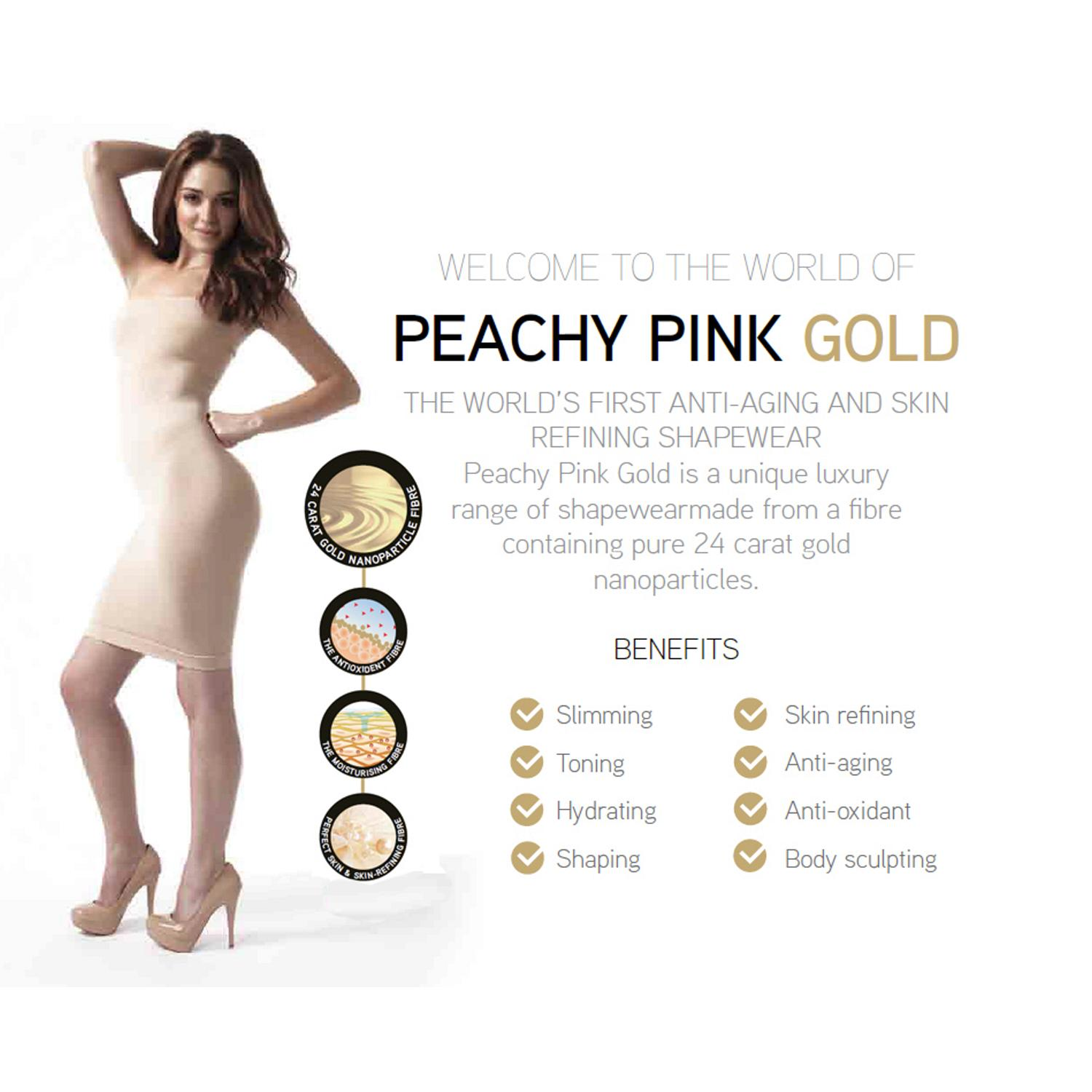 PEACHY PINK LONDON ANTI-AGING GOLD SHAPEWEAR hochtaillierte Bermude Shorts Hose 1