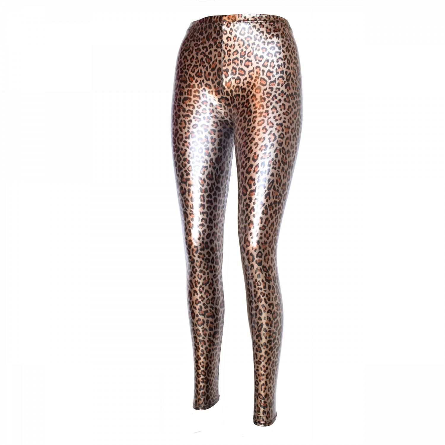 Wunderschöne Metallic Glanz Stretch Leggings leopard metallic 1
