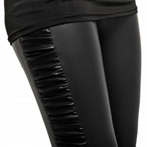 Sexy Wetlook Glanz Stretch Leggings mit seitlicher Raffung 6