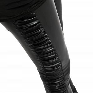 Sexy Wetlook Glanz Stretch Leggings mit seitlicher Raffung 5