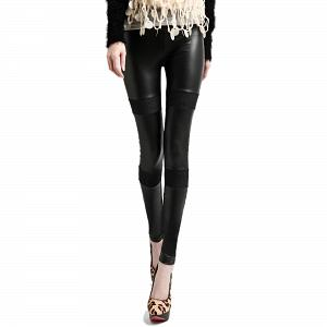 Wunderschöne Wetlook Glanz Stretch Leggings mit Jeanslook 11