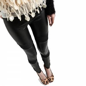 Wunderschöne Wetlook Glanz Stretch Leggings mit Jeanslook 4