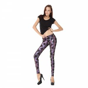 Wunderschöne Wetlook Glanz Stretch Leggings pink Dreieck Muster 6
