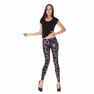Wunderschöne Wetlook Glanz Stretch Leggings pink Dreieck Muster 5