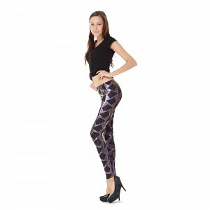 Wunderschöne Wetlook Glanz Stretch Leggings pink Dreieck Muster 3