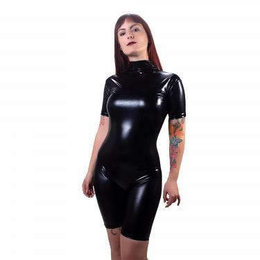 Wetlook Glanz Body kurze Ärmel + Zipper 3