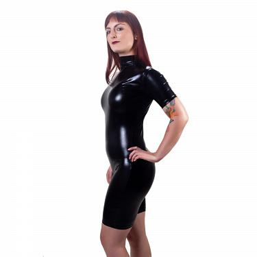 Wetlook Glanz Body kurze Ärmel + Zipper 2